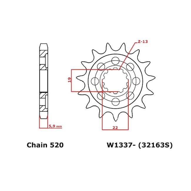 Motorritzel HQV 250-310 TE/TC 11-13,